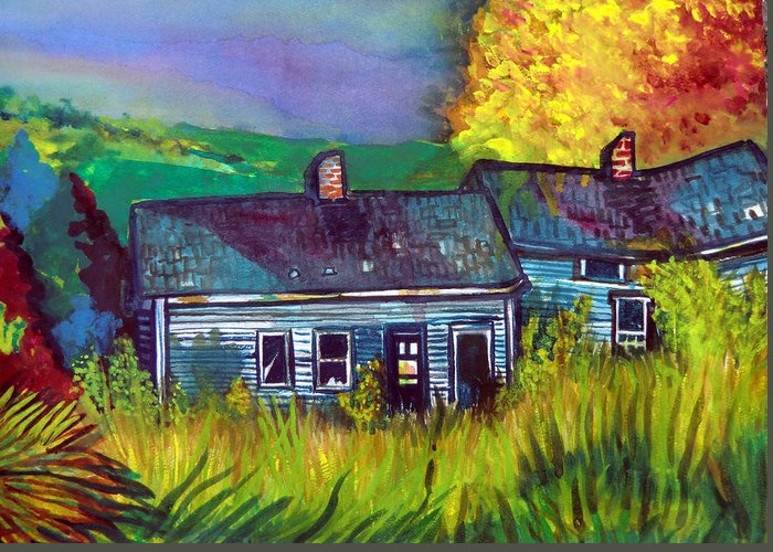 Shack Greeting Card featuring the painting The Shack by Mindy Newman