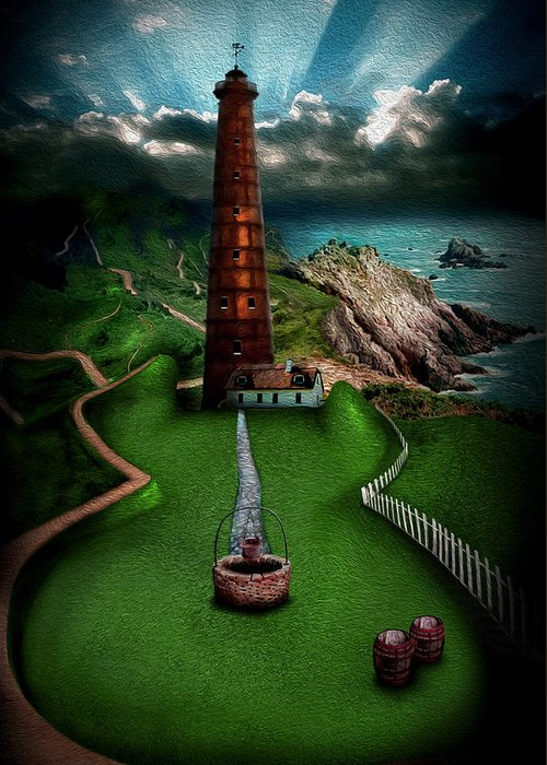 Lighthouse Greeting Card featuring the digital art The Sound Of Silence by Alessandro Della Pietra