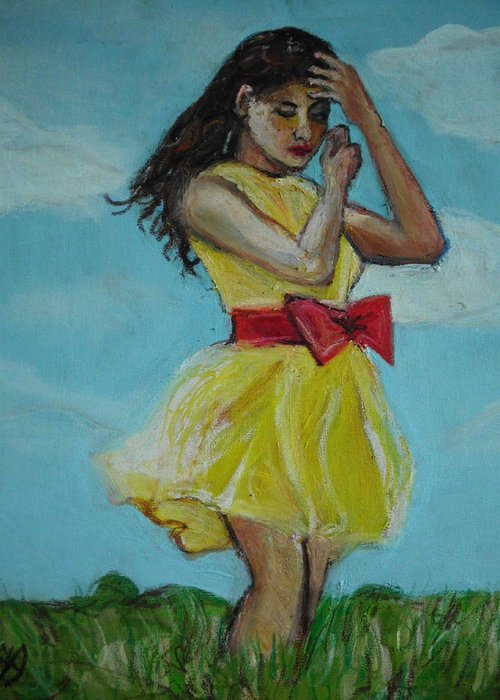Portrait Greeting Card featuring the painting The Spring Bow Dress by Adam Kissel