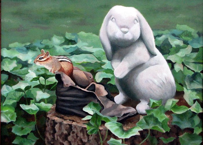 Chipmunk Greeting Card featuring the painting The Stone Rabbit by Sandra Chase