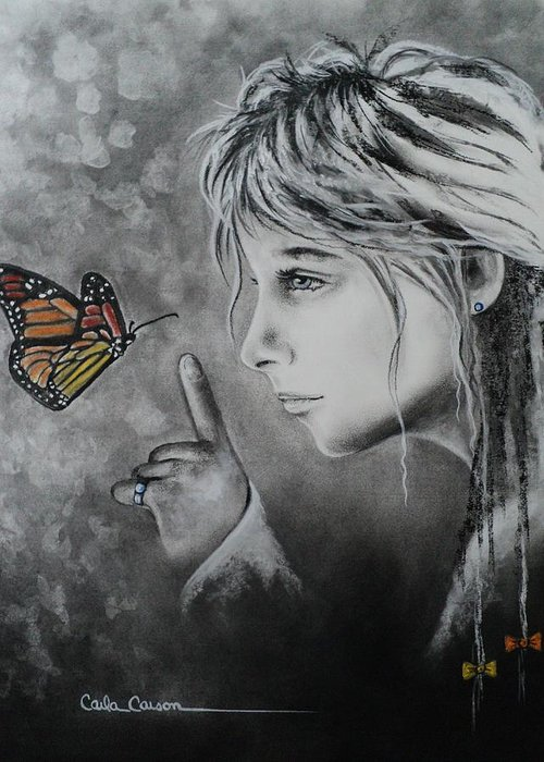 Butterfly Greeting Card featuring the drawing The Story Of Me by Carla Carson