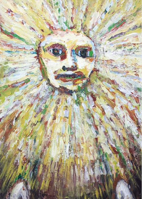 The Sun God Greeting Card featuring the painting The Sun God by Kazuya Akimoto