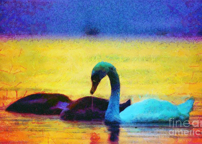 Odon Greeting Card featuring the painting The Swan Family by Odon Czintos