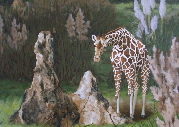 Giraffe Greeting Card featuring the painting The Termite Mounds by Sandra Chase