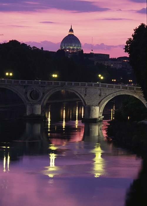 Europe Greeting Card featuring the photograph The Tiber River And The Dome Of St by Richard Nowitz