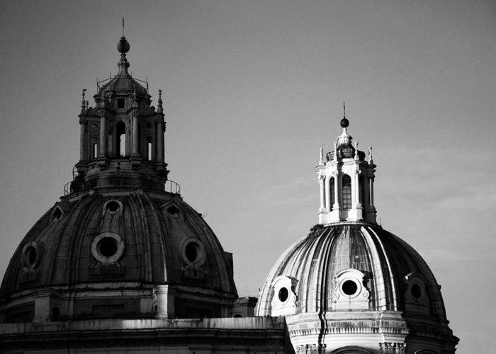 Rome Greeting Card featuring the photograph The Twin Domes Of S. Maria Di Loreto And Ss. Nome Di Maria by Fabrizio Troiani