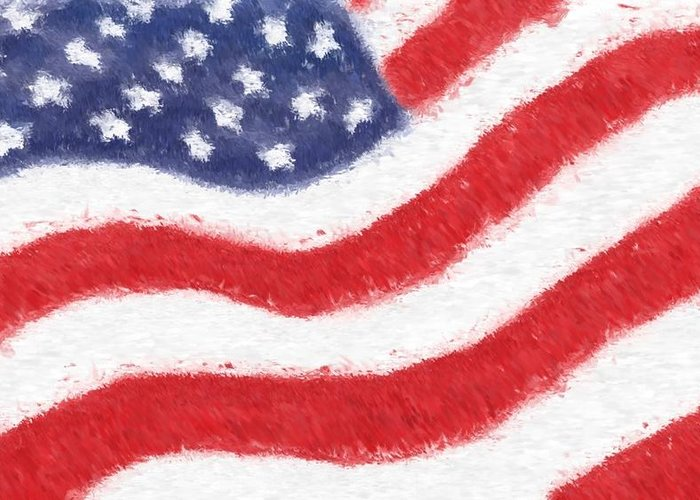 Usa Greeting Card featuring the glass art The United States Flag by Heidi Smith