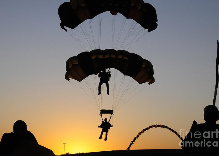 U.s. Army Golden Knights Greeting Card featuring the photograph The U.s. Army Golden Knights Perform An by Stocktrek Images