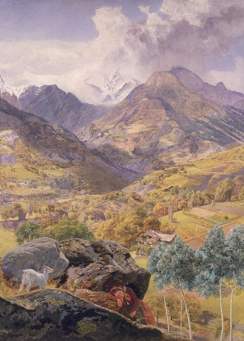 Mountain; Landscape; Goat; Italy; Aosta; Valley; Northern Italy; Italian Greeting Card featuring the painting The Val D'aosta by John Brett