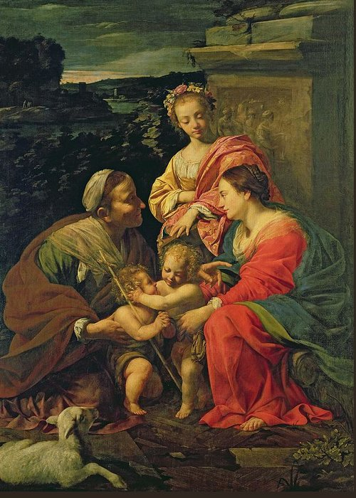 The Virgin And Child With St. Elizabeth Greeting Card featuring the painting The Virgin And Child With Saints by Simon Vouet