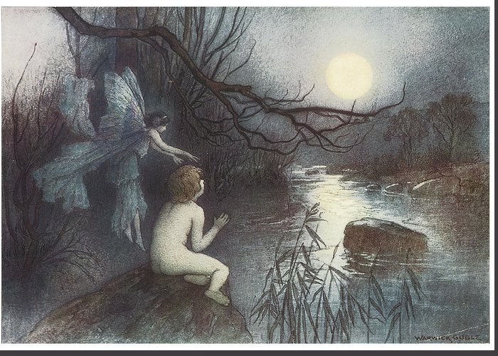 Warwick Goble Greeting Card featuring the painting The Water Babies by Warwick Goble