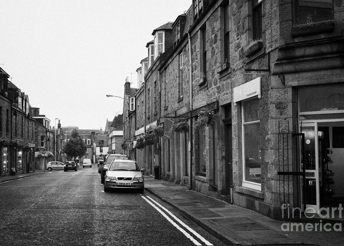 Thistle Greeting Card featuring the photograph Thistle Street Rows Of Granite Houses And Shops Aberdeen Scotland Uk by Joe Fox