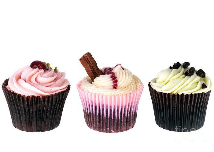 Appetizing Greeting Card featuring the photograph Three Cupcakes by Jane Rix
