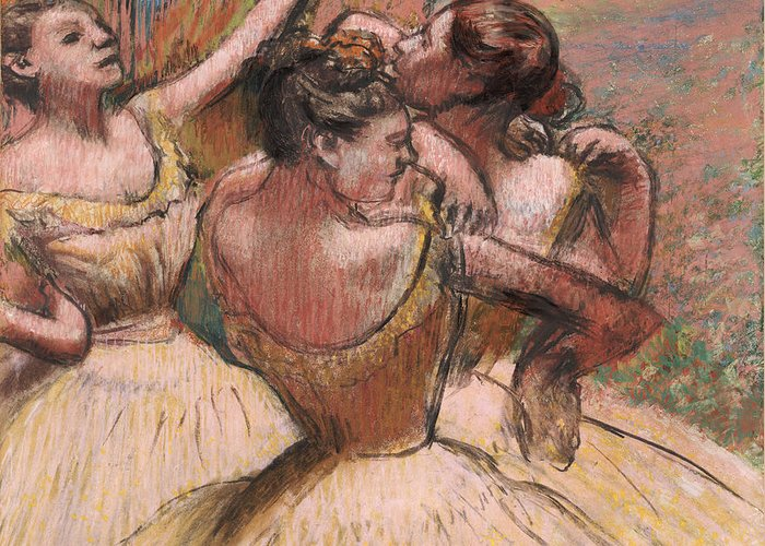 Three Dancers Greeting Card featuring the pastel Three Dancers by Edgar Degas