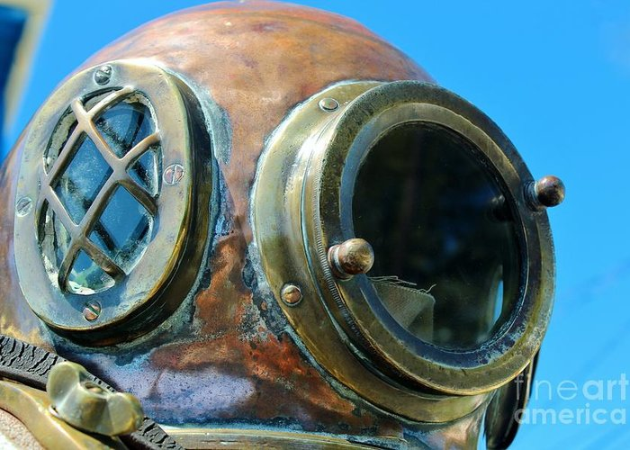 Dive Helmet Greeting Card featuring the photograph Thru The Peep Hole by Rene Triay Photography