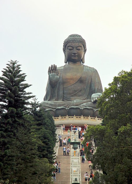 Religion Greeting Card featuring the photograph Tian Tan Buddha by Valentino Visentini