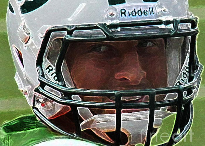 Lee Dos Santos Greeting Card featuring the photograph Tim Tebow Art Deco Close-up - New York Jets - by Lee Dos Santos