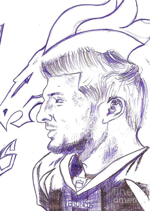 Tim Tebow Greeting Card featuring the drawing Tim Tebow by HPrince De Artist