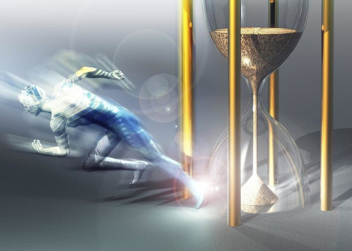 Computer Graphic Greeting Card featuring the photograph Time Travel, Conceptual Artwork by Laguna Design