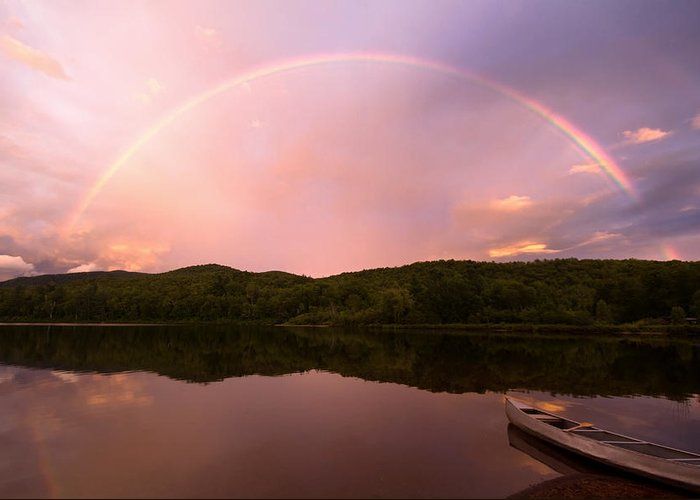 Rainbow Greeting Card featuring the photograph Timing Is Divine Rainbow Over Vermont Mountains by Stephanie McDowell