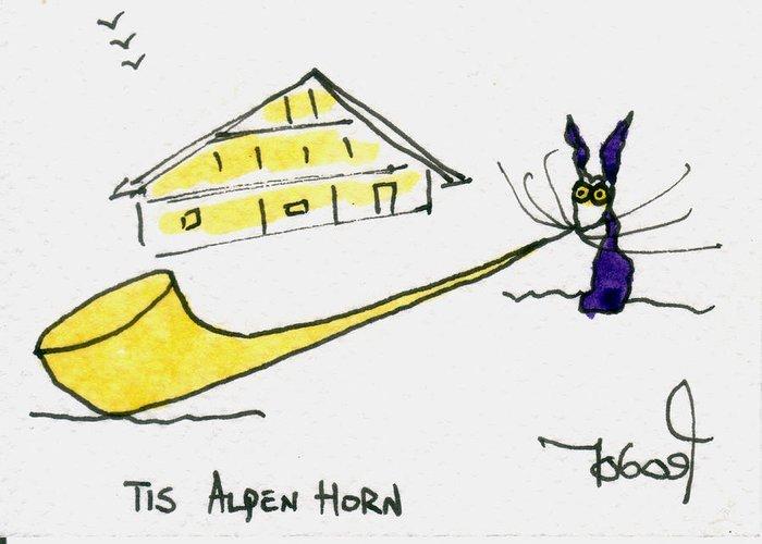 Alpenhorn Greeting Card featuring the painting Tis Alpenhorn by Tis Art