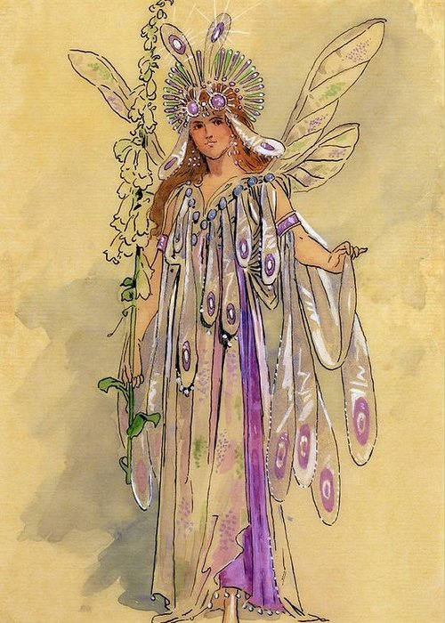Theatrical; Clothing; Fairy; C20th; Shakespeare; Shakespearian Greeting Card featuring the drawing Titania Queen Of The Fairies A Midsummer Night's Dream by C Wilhelm