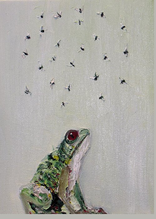 Frog Greeting Card featuring the painting To Save Their Small Lives From Surrounding Death by Fabrizio Cassetta