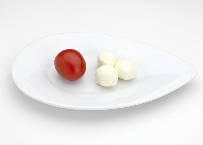 Tomato Greeting Card featuring the photograph Tomato Mozzarella by Joana Kruse