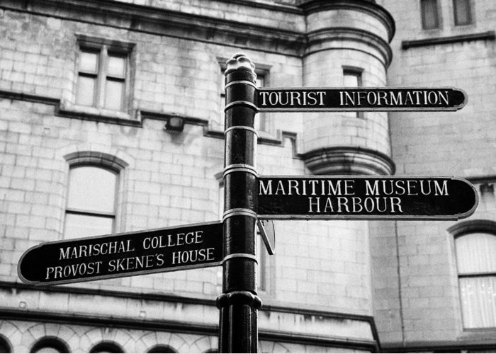 Tourist Greeting Card featuring the photograph Tourist Information Signs Directions Street Aberdeen Scotland Uk by Joe Fox