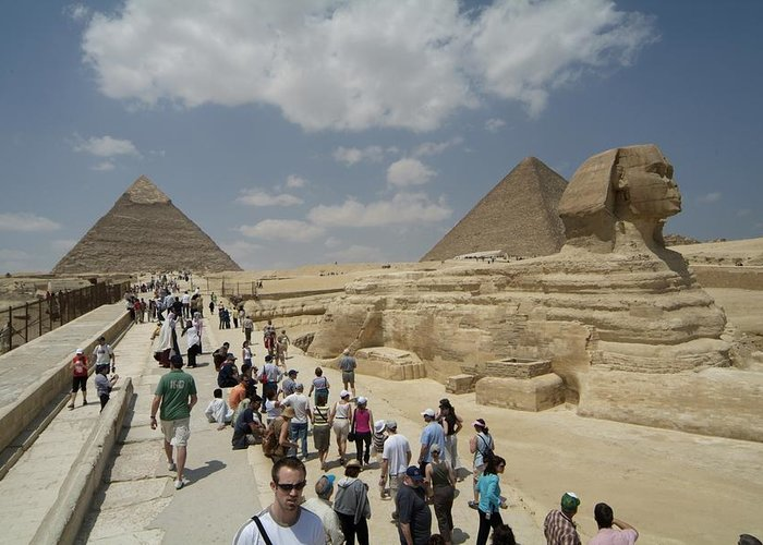 World Heritage Sites Greeting Card featuring the photograph Tourists View The Great Sphinx by Richard Nowitz