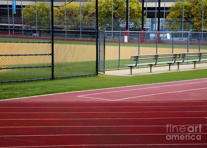 Athletics Greeting Card featuring the photograph Track And Baseball Diamond by Inti St. Clair