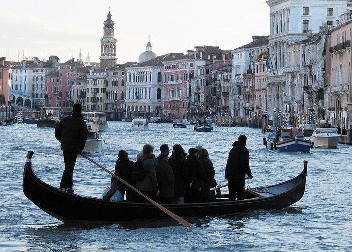 Grand Canal Greeting Card featuring the pyrography Traghetto . Gran Canal. Venice by Bernard Jaubert