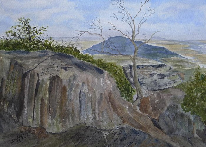 Rocks Greeting Card featuring the painting Trails End - Rocks Trees And Sky by Joel Deutsch