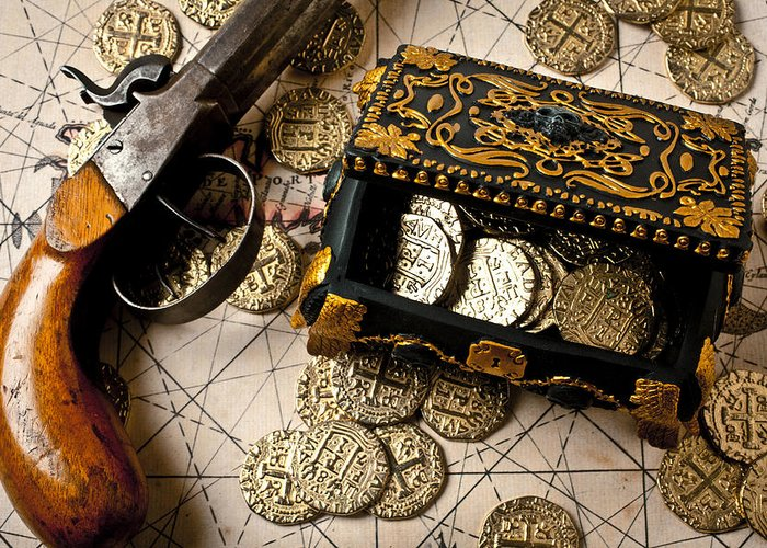 Gun Greeting Card featuring the photograph Treasure Box With Old Pistol by Garry Gay