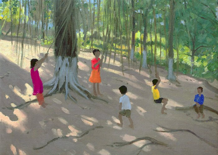 Swinging Greeting Card featuring the painting Tree Swing by Andrew Macara