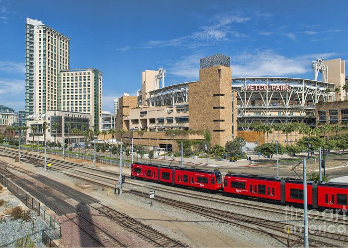 Petco Park Greeting Card featuring the photograph Trolley To Petco Park by Alan Crosthwaite