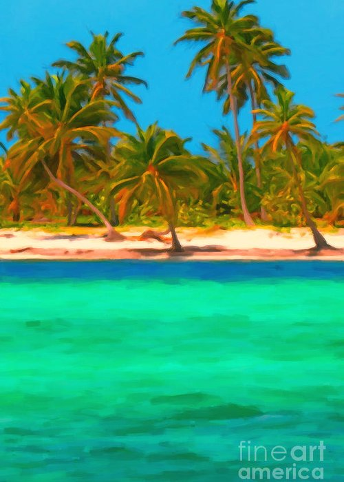 Tropical Island Greeting Card featuring the photograph Tropical Island 5 - Painterly by Wingsdomain Art and Photography