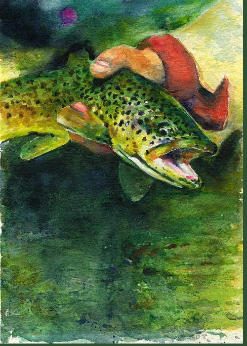 Fish Greeting Card featuring the painting Trout In Hand by John D Benson
