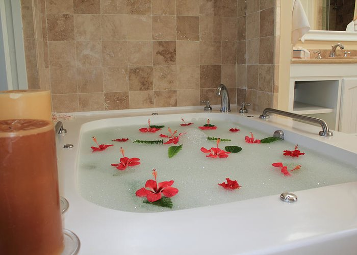 Bath Tub Greeting Card featuring the photograph Tub Of Hibiscus by Shane Bechler