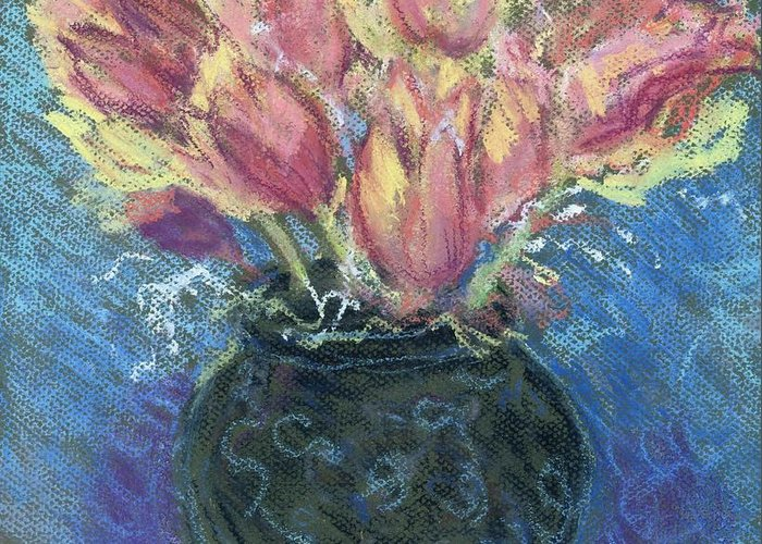 Pink Greeting Card featuring the pastel Tulips by Hillary McAllister