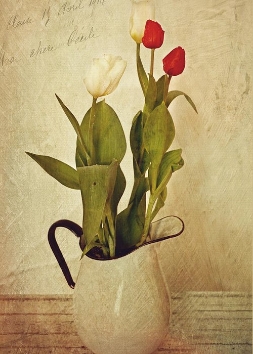 Tulips Greeting Card featuring the photograph Tulips by Kathy Jennings