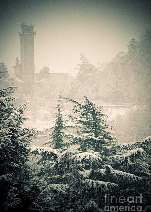 Turret Greeting Card featuring the photograph Turret In Snow by Silvia Ganora
