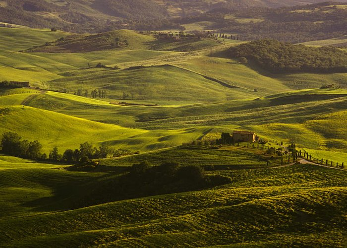 Farm Greeting Card featuring the photograph Tuscan Hills by Andrew Soundarajan