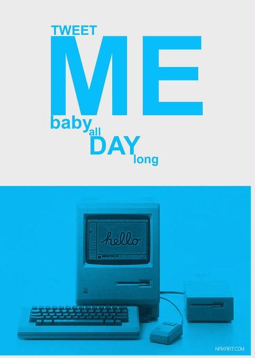 Twitter Greeting Card featuring the digital art Tweet Me Baby All Night Long by Naxart Studio