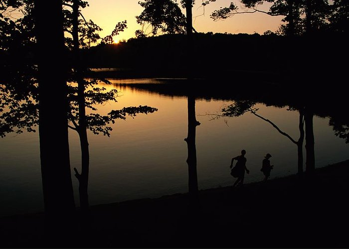 Subject Greeting Card featuring the photograph Twilight Over Walden Pond, Made Famous by Tim Laman