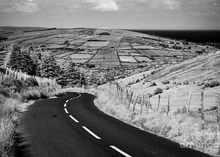 Glenaan Greeting Card featuring the photograph Twisty Country Mountain Road Through Glenaan Scenic Route Glenaan County Antrim by Joe Fox