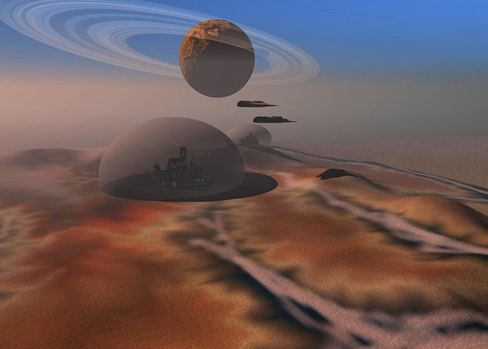 Space Art Greeting Card featuring the digital art Two Aircraft Fly Over Domes by Corey Ford