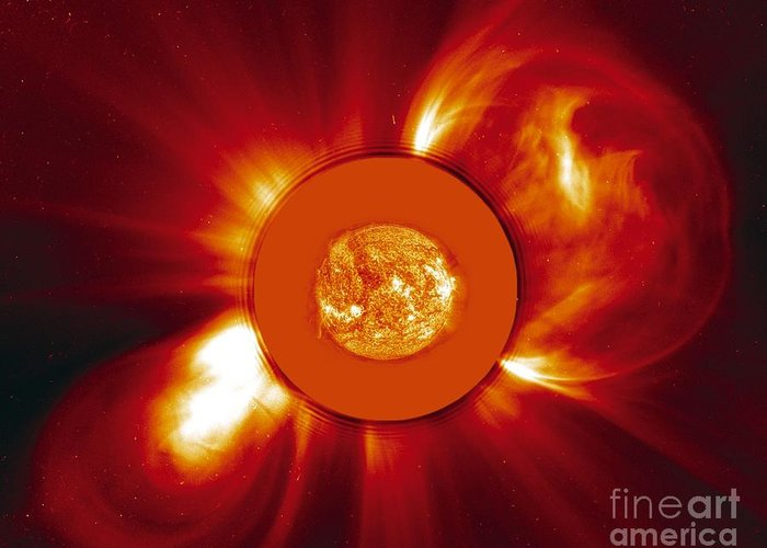 2000 Greeting Card featuring the photograph Two Coronal Mass Ejections by Solar & Heliospheric Observatory consortium (ESA & NASA)