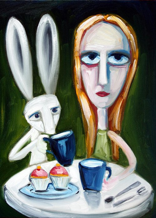 Alice Greeting Card featuring the painting Two Cup Cakes by Leanne Wilkes