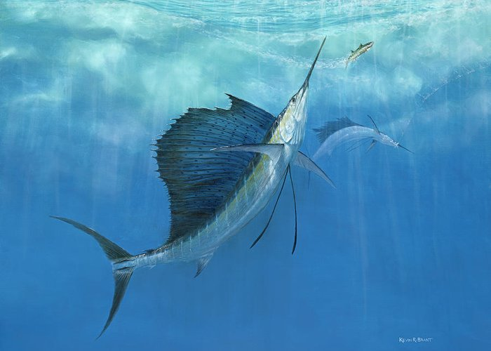 Kevin Brant Greeting Card featuring the painting Two Of A Kind Sailfish by Kevin Brant
